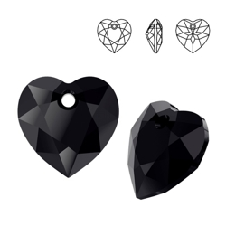 6432 MM 8 Swarovski Heart Cut JET