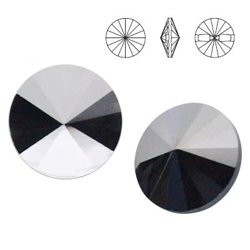3015 MM 12 Swarovski Button JET HEMATITE HEM